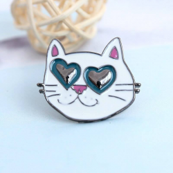 Cat with hearts Pin