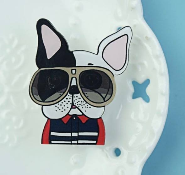 Pin dog with sunglasses