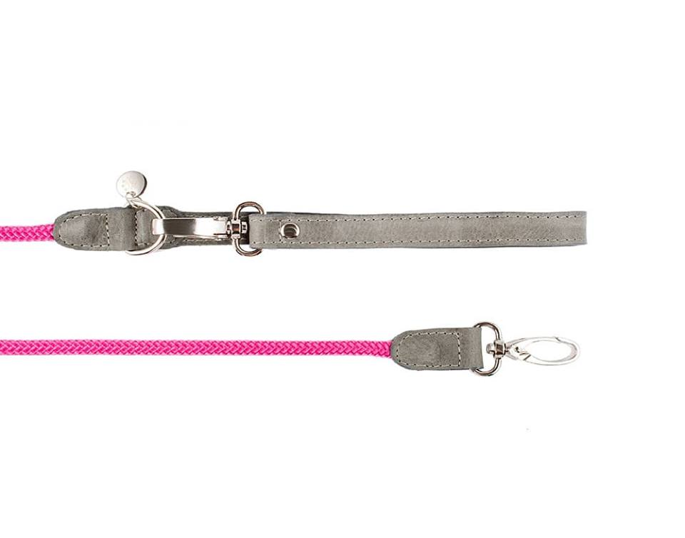 LEATHER & ROPE LEASH HAFEN PINK