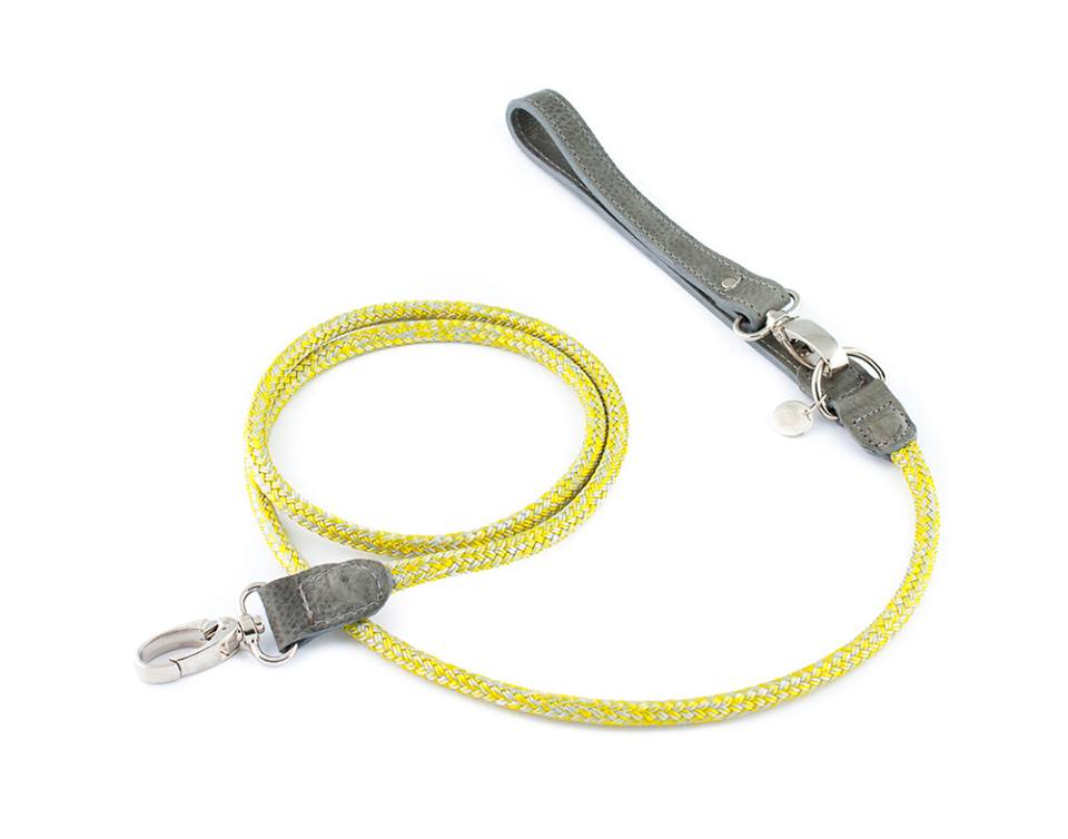 LEATHER & ROPE LEASH HAFEN Yellow