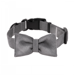 DOG COLLAR WITH A BOW - GRAY