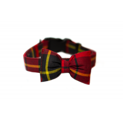 DOG COLLAR WITH A BOW - TARTAN